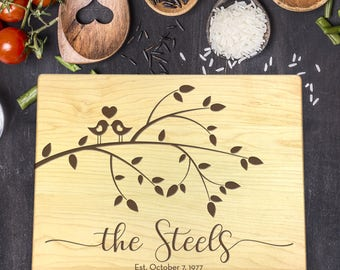 New Home Gift, Personalized Cutting Board, Gift for Couple, Gift for Her, Gift for Him, Wedding Gift, Last Name Gift, B-0031 Rec