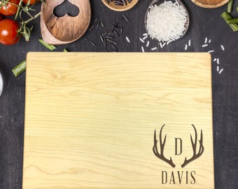 Personalized Cutting Board, Gift for Him, Husband Gift, Boyfriend Gift, Fathers Day Gift, Hunting, Personalized Gift, Antler, B-0047