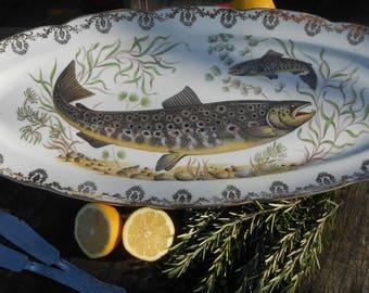 Long Fish Serving Platter. French Large Oval Platter with Fluted 'Gilt' Filigree Edge marked 'Paris Porcelaine France'.
