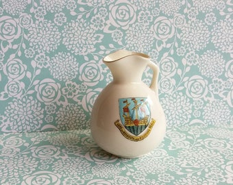 1900s Edwardian Arcadian Crested Ware Miniature Pitcher - Weymouth and Melcombe Regis - Carlton China