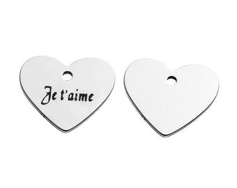 """5 pendants engraved """"I love you"""" 1.8 stainless steel heart shaped cm"""