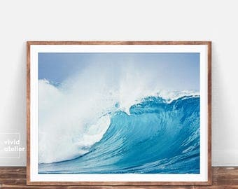 Wave Wall Print, Coastal Printable, Wave Poster, Blue Wave Print, Coastal Poster, Wave Printable,  Ocean Poster, Coastal Wall Print, Decor
