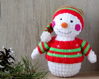Christmas snowman toy Softie toy Baby toy Snowman cuddly toy Snowman plush toy  stuffed toy Toys for christmas snowman photo prop