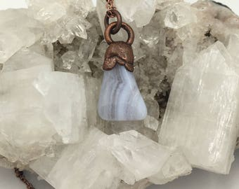 Blue Lace Agate Necklace | Ready To Wear | Electroformed Copper | Healing Mineral and Crystal Jewelry