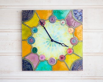 Wall clock Barselona, Rainbow clock, Hand painted clock, Stained glass windows, Unique clock, Silent wall clock, Wall decor
