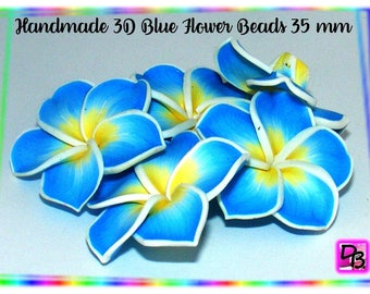 1 Pearl frangipani # 35 mm 3-d # handmade # Polymer # Polymer Clay Plumeria Flower Beads # creations # DollyDoo DIY 3D