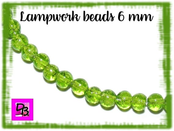10 Perles Lampwork [YellowGreen] 6mm