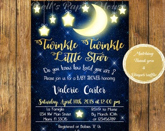 Digital file or Printed-Twinkle Twinkle Little Star Baby Shower Invitation-How We Wonder What You Are-Customize-Free Shipping