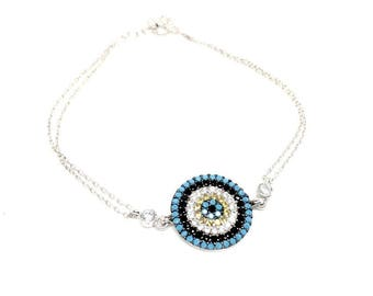 Women's jewellery Gifts. 925 Sterling Silver, Cubic Zirconia Round Bracelet - mediterranean style. Gift box included, 8 inches adjustable