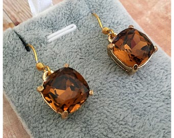 Topaz Glass Earrings, Gold Earrings, Sparkle Earrings, Drop Earrings, Dangle Earrings, Glass Crystal