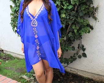 Blue Caftan with hand embroidery, beach coverups, swimsuit coverup, Beach Cover ups ,honeymoon, Vacation wear, Beach cover-ups, beach top