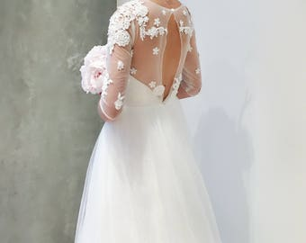 SAMPLE SALE Beaded Floral Lace Long Sleeve Wedding Dress