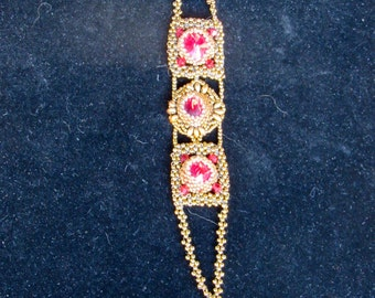 Red and Bronze Swarovski Crystal Bracelet