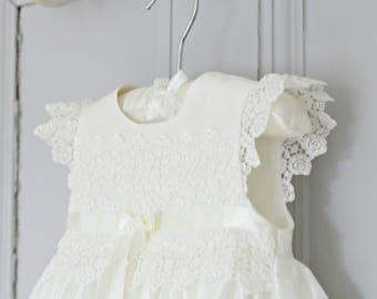 Christening Gown - Rachel Baptism Gown - Christening Dress - Baby Girl Baptism Dress - Blessing Gown - Silk Christening gown - Lace gown