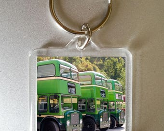 bus keyring - photo gift - double decker bus - green bus - secret santa - bus keychain - southdown bus - fathers day gift
