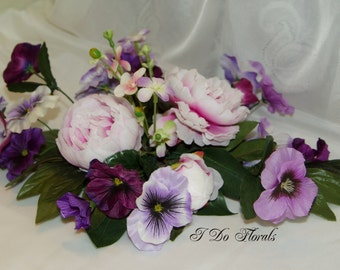 Purple and Pink Peony and Pansy Wedding Centerpiece, Floral Table Centerpieces, Purple and Pink Wedding Decorations, Floral Table Decor