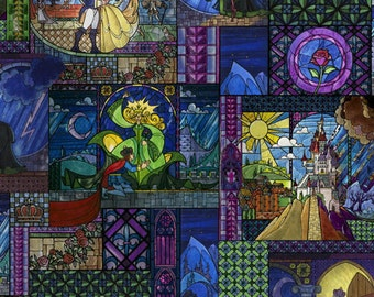 Beaty and the Beast Stained Glass Cotton Fabric