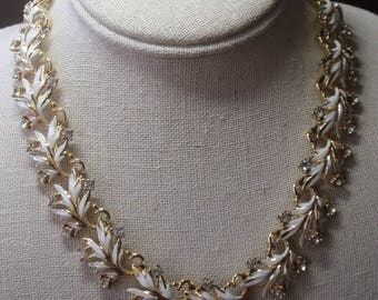 Coro White Enamel Leaf Necklace