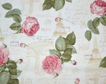 Eiffel Tower And Roses Fabric Shabby Chic Vintage By The Yard Fat