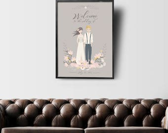Wedding Welcome Sign, Welcome to our Wedding, Wedding Sign, Wedding Welcome, Illustrated Portrait, Custom Portrait, #ICS