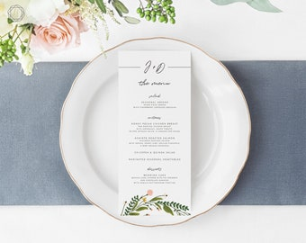 Wedding Menu, Menu Template, Menu, Printable Menu, Menu Card, Menu Printable, Watercolor Floral Menu, Menu Card, Wedding printables, #GPW