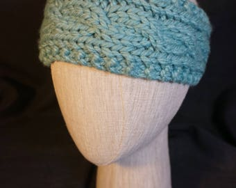 Sage Hand Knit, Cabled Headband; Baby, Toddler, Kid