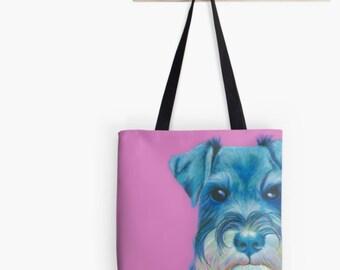 Pink Schnauzer Tote Bag | pink schnauzer shopping bag | pink schnauzer handbag | pink schnauzer shoulder bag | pink schnauzer bag