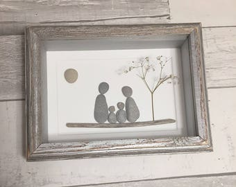 Pebble Art Family of Four ~ unique 5th anniversary gift wood, retirement gift, housewarming gift, thoughtful gift, family art, original art