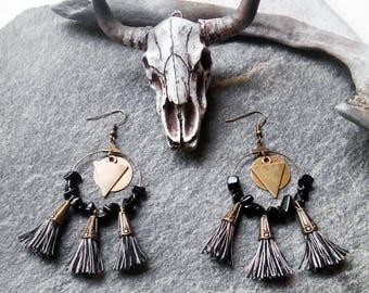 PomPoms black and beige, black and Creole stones earrings bronze, triangle, Bohemian gypsy ethnic
