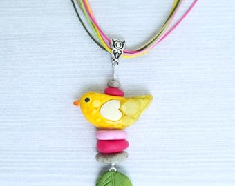 BIRDIE necklace, Super cute jewelry, handmade jewelry for girls, Polymer Clay Jewelry, Gifts for Kids/Little girls