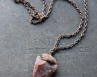 Brown/Pink Arrowhead Necklace