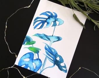 art print - botanical illustration - monstera art print - watercolor painting - wall art - home decor - watercolor print - jungle print