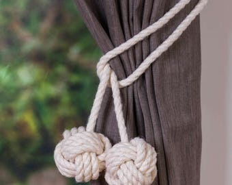 CLEARANCE Cotton Rope Tie-backs/Rope ties/ Monkey Fist Knot Curtain Tiebacks / shabby chic windows/ Rope Tiebacks/ nautical ties/