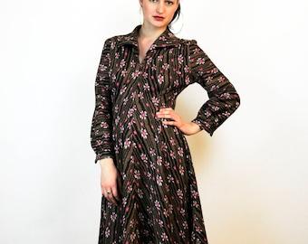 FREE SHIPPING Long wool dress long sleeve dress brown dress pink dress medium dress vintage wool dress wool maxi dress flower pattern dress