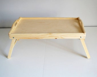 Large Breakfast Tray-Bed Tray-Tray with Legs-Serving Tray-Unfinished Tray-Decorative Wooden Tray-Pine Tree trays-Untreated Wood Tray