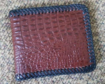 Handsome Alligator Embossed Leather Wallet, Men's SlimStyle Leather Wallet, 6 Card Slot/2 Money Pocket Leather Interior, HandLaced