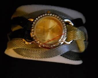 Strada Black Gold Sliver Mesh Watch #673