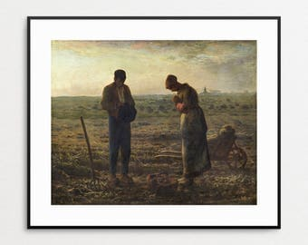 The Angelus Painting by Jean-François Millet, 1859 - Praying Farmers - Fine Art Giclee Print - Farmhouse Decor - Free Shipping to USA