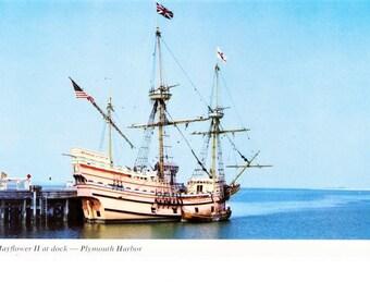 Vintage MA Massachusetts Postcard Mayflower II Sail Boat Plymouth Harbor Travel Souvenir Historic Ship Unposted