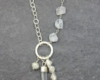 Long Mountain Crystal Necklace 925/-Silver