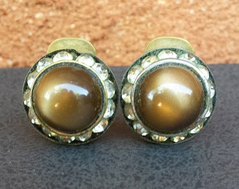 Vintage Round Clip On Earrings - 1940s 50s 60s - Brown Moonstone Cabochon with Clearn Rhinestones - Metal Backing Unpierced - Glam Rocker