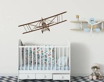 Ebene Wand Aufkleber Flugzeug Vinyl Aufkleber Aufkleber Doppeldecker Dekor  Luftfahrt Flugzeug Aufkleber Junge Zimmer Dekor Schlafzimmer