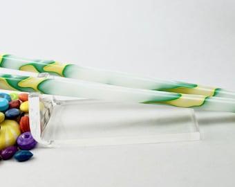 Custom Length- Key Lime Slim pair acrylic hair sticks
