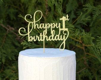 happy 1st birthday, first birthday party, happy birthday, gold glitter topper, birthday party cake topper, happy first birthday, one year
