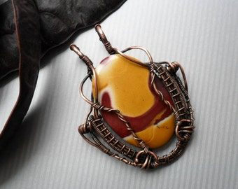 Mookaite Wire wrapped pendant Gemstone Jasper necklace Wire wrapped jewelry Celtic Antique Copper wire necklace Handmade OOAK jewelry celtic
