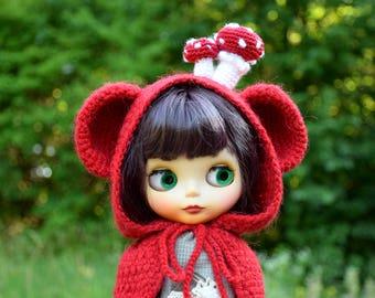 Blythe hat Blythe bear hood with Mushrooms blythe clothing Blythe Mushroom fly agarics hat doll knitted hat blythe red hat  amanita hat