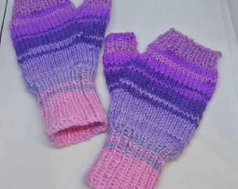 Kids Childrens Handknitted Fingerless Mitts.  Handmade in UK