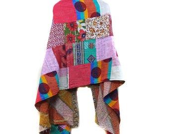 Handmade Cotton Scarf (Big), Kantha work Scarf ,Neck Wrap ,head wrap ,Stole Dupatta Collar , head band ,One side Patchwork