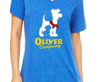 Disney Shirts Ladies Relaxed V neck Oliver & Company Shirt Disneyland Shirt Disney World Shirt Disney Shirt  Magic Kingdom Shirt