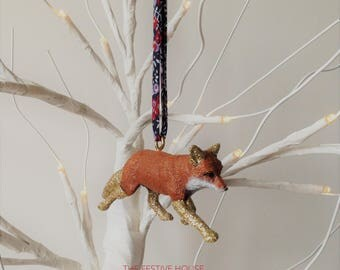 Fox Christmas Tree Decoration, Choice of Ribbons, Animal Tree Decoration, Christmas Decorations, Tree Ornaments, Fox Gifts
